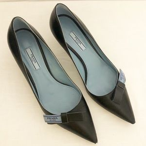 Prada Black Leather Logo Bow Toe kitten heel